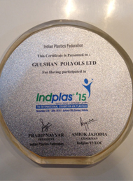 Award of Acknowledgement for Participation in Indplas'15