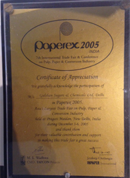 Award of Acknowledgement for Participation in Paperex 2005, India
