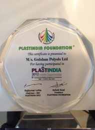 Award of Acknowledgement for Participation in PLASTINDIA, 2012